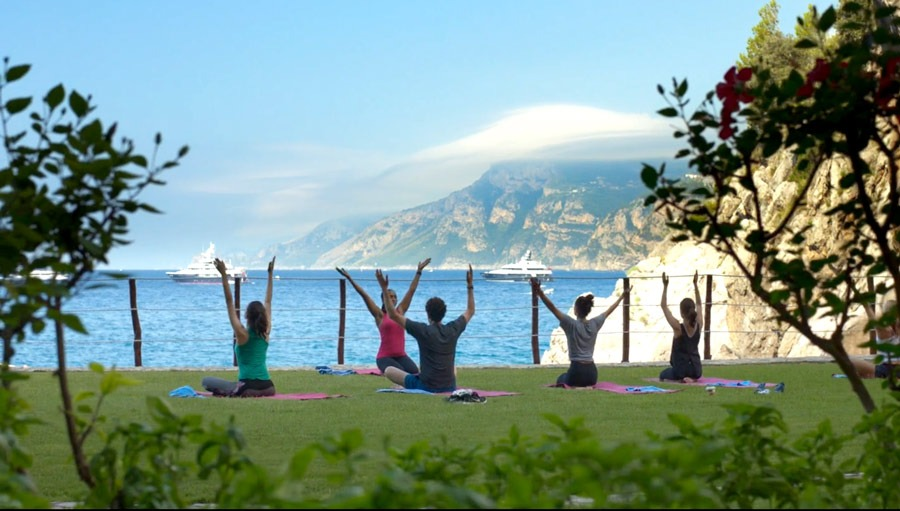 Yoga lesson at Il San Pietro hotel